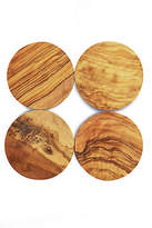 One Kings Lane Set of 4 Round Olive Wood Coasters - Natural