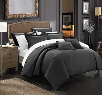 Chic Home 7 Piece Khaya Down Alternative Jacquard Striped Comforter Set