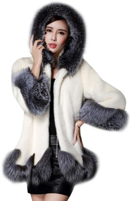 HOMEBABY Women Faux Fox Fur Coat Plus Size Long Sleeve Parka Outwear (UK Size:20