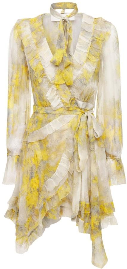 Zimmermann Botanica Frill Silk Chiffon Mini Dress