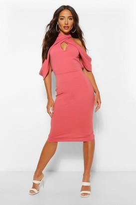 boohoo Draped Shoulder Halterneck Midi Dress