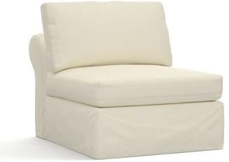 Pottery Barn PB Air Slipcovered Armless Chair - Premium Performance Basketweave, Ivory