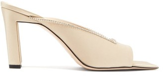 Wandler Isa Square-toe Crystal-embellished Satin Mules - Light Gold