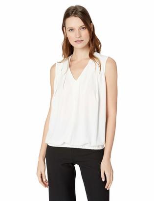 Lark & Ro Amazon Brand Women's Sleeveless Pleated V-Neck Blouse with Tucked Hem