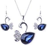 Qiyun Faceted Crystal Swan Bird Pendant Chain Necklace Earrings Set Cristal a Facettes Cygne Oiseau Collier