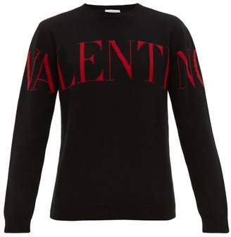 Valentino Logo Intarsia Cashmere Sweater - Mens - Black