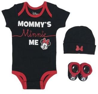 Disney Minnie Mouse Short Sleeve Bodysuit, Booties & Cap, 3-piece Layette Gift Set (Newborn Baby Girls)