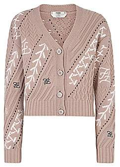 Fendi Women's Karligraphy Cable-Knit Wool & Cashmere Cardigan