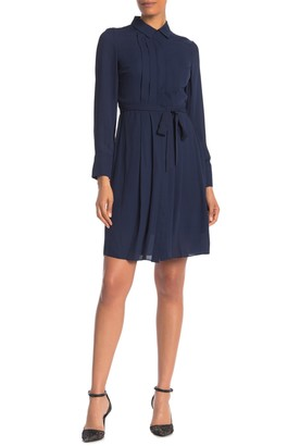 Nanette Lepore Pleated Waist Tie Shirt Dress