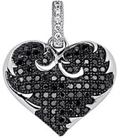 GoldenMine .925 Sterling CZ Micro Pave Contrast Ornate Heart Shimmering Charm Pendant