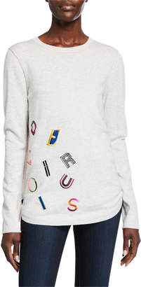 LISA TODD Delirious Embroidered Cotton/Cashmere Shirttail Sweater