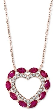 "Effy Certified Ruby (7/8 ct. t.w.) & Diamond (1/6 ct. t.w.) Heart 18"" Pendant Necklace in 14k Rose Gold"