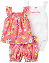 Carter's 3-Pc. Top, Adorable Like Mommy Bodysuit & Bubble Shorts Set, Baby Girls (0-24 months)
