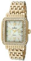 Peugeot Rectangle Crystal Bezel Roman Numeral Dial 14K Gold Plated Bracelet Dress Watch 7080G