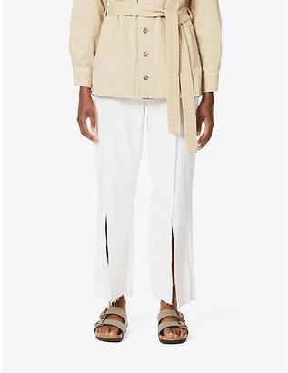 Rag & Bone X Bonum Japan Ruth wide-leg high-rise cotton and linen-blend jeans