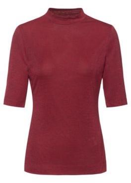 HUGO BOSS Stand Collar T Shirt In Glitter Effect Stretch Jersey - Black