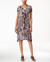 Style&Co. Style & Co. Petite Printed Cap-Sleeve Swing Dress, Only at Macy's