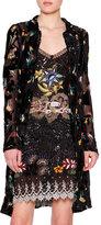 Etro Floral-Print Button-Front Long Cardigan, Black/Multi