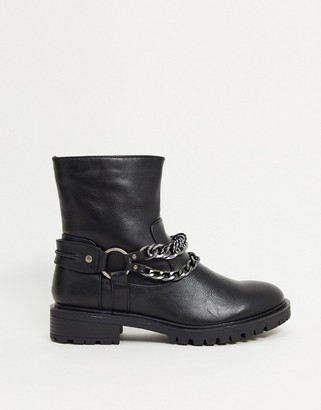 Glamorous flat biker boots with chain detail in black