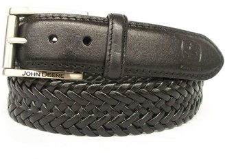 John Deere Mens Leather Braided Comfort Stretch Belt