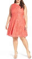 Gabby Skye Plus Size Women's Keyhole Bodice Lace A-Line Dress