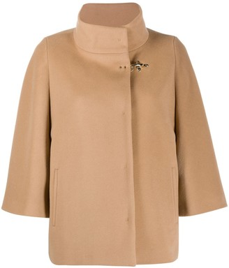 Fay Draped Funnel-Neck Coat