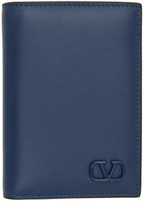 Valentino Navy Garavani VLogo Bifold Card Holder