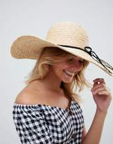 Asos Natural Straw Floppy Hat with Braid Band and Size Adjuster