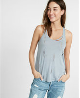 Express distressed slash neck tank