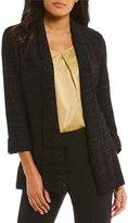 Kasper Sequin Embellished Tweed Open Drape Front Jacket