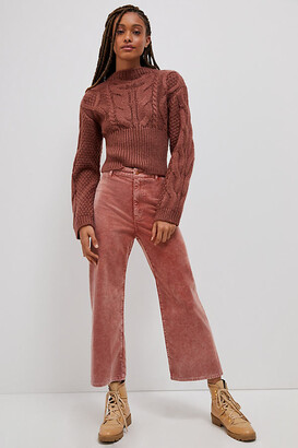 Pilcro And The Letterpress Pilcro Ultra High-Rise Cropped Wide-Leg Corduroy Pants By in Pink Size 25