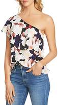 1 STATE 1.state Floral Print Ruffle One-Shoulder Top