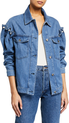 Mother of Pearl Brennon Denim Jacket with Pearls