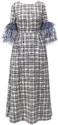Huishan Zhang Mariah Feather-Trim Plaid Dress