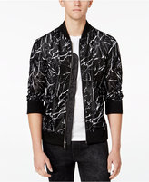 GUESS Men's Long-Sleeve Marble Mesh Bomber Jacket