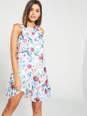 Little Mistress Floral Print Chiffon Ruffle Mini Dress - Multi