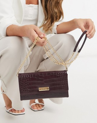 Carvela favour purse bag with chain strap in wine croc