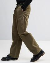 Asos Wide Leg Smart Trousers In Khaki