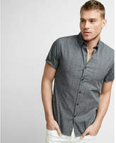 Express fitted micro print short sleeve shirt