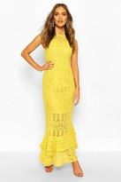 boohoo Occasion Lace High Neck Maxi Dress