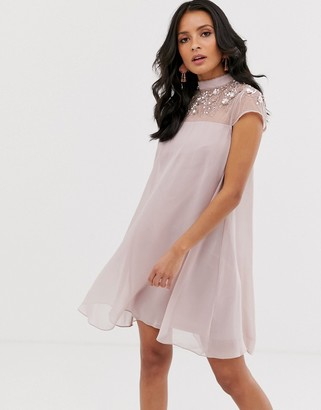 Lipsy embellished swing dress in mink-Pink