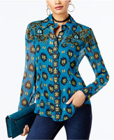 INC International Concepts Anna Sui x Silk Printed Blouse, Created for Macy's