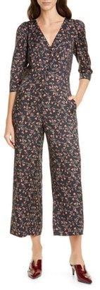 Rebecca Taylor Floral Silk Blend Crop Jumpsuit