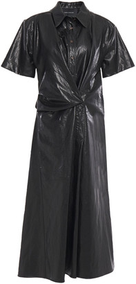 Cédric Charlier Draped Faux Cracked-leather Midi Dress