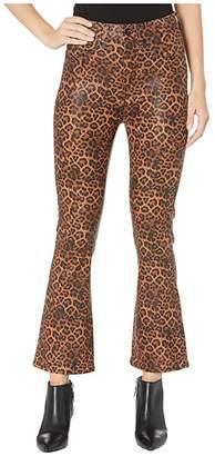 7 For All Mankind High-Waist Slim Kick Faux Pocket in Coated Penny Leopard (Black/Penny Leopard) Women's Jeans