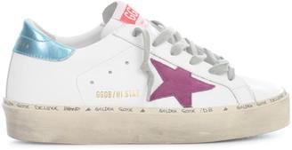 Golden Goose Hi Star Leather Upper Suede Star Laminated Heel