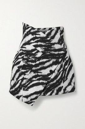 Redemption Asymmetric Metallic Cotton-blend Jacquard Mini Skirt - Zebra print