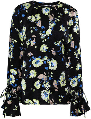 Derek Lam 10 Crosby Embroidered Floral-print Silk Top