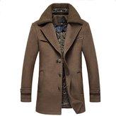 Wawoo Men's Fur Collar Single Breasted Long Woolen Coat Men Trench Coat Wool Coat