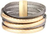 Saachi Style Style Women's Bracelets grey - Goldtone & Gray Leather Bracelet